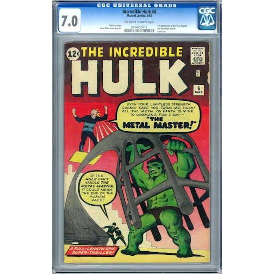 Incredible Hulk #6 CGC 7.0 (OW-W) *0914655012*