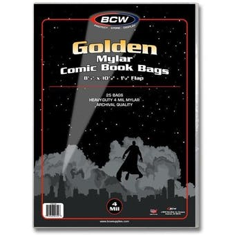 BCW Golden Age Comic Book Mylar 4 Mil Bag (25 Ct.)