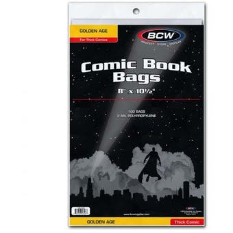 BCW Golden Age Comic Book Bags 100 ct Thick Comic