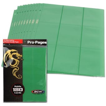 BCW Side Loading 18-Pocket Pro Pages - Green