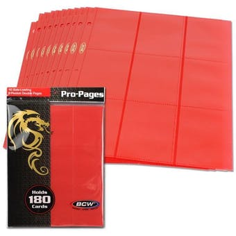 BCW Side Loading 18-Pocket Pro Pages - Red