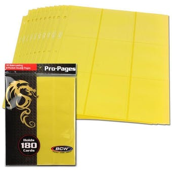 BCW Side Loading 18-Pocket Pro Pages - Yellow
