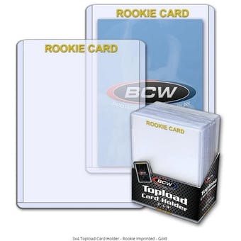 BCW 3x4 Topload Card Holder - Rookie Imprinted - Gold