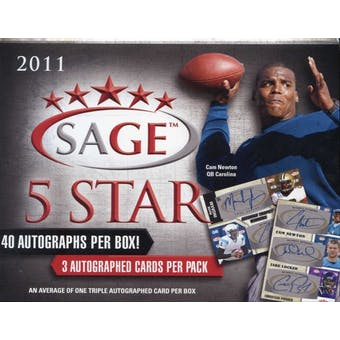 2011 Sage Five Star Rookies Football Hobby Box