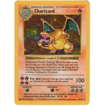 Pokemon Base Set 1 Single Charizard 4/102 - Shadowless SLIGHT PLAY (SP)