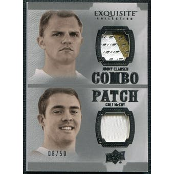 2010 Upper Deck Exquisite Collection Patch Combos #MC Colt McCoy Jimmy Clausen /50