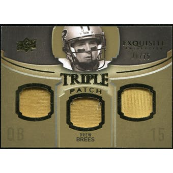 2010 Upper Deck Exquisite Collection Single Player Triple Patch #ETPDB Drew Brees /75