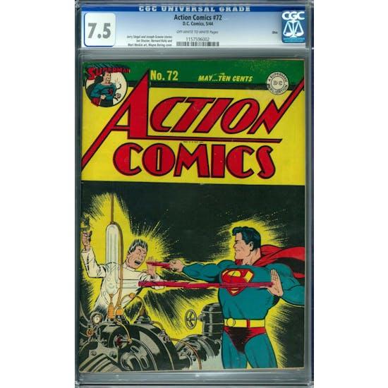 Action Comics #72 CGC 7.5 Ohio Pedigree (OW-W) *1157596002*