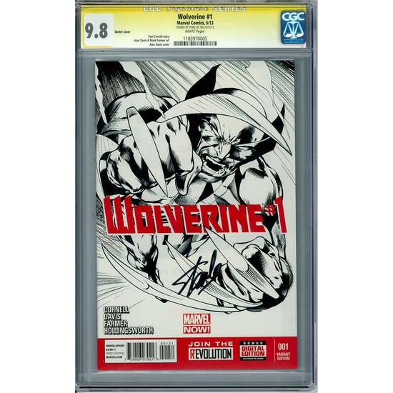 Wolverine #1 Sketch Cover CGC 9.8 Stan Lee Siganture Series (W) *1183970005*