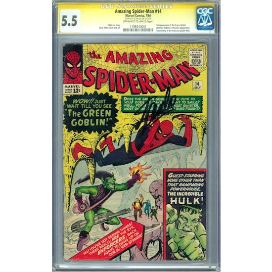 Amazing Spider-Man #14 CGC 5.5 (OW-W) Stan Lee Signature Series *1198340001*