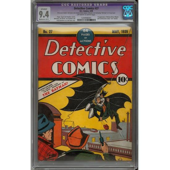Detective Comics #27 CGC 9.4 (OW-W) Moderate Restoration (A-3) *1200906001* + Batman #1-36 Original Owner Run