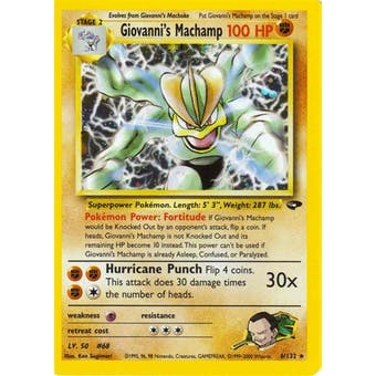 Pokemon Gym Challenge 1st Edition Single Giovanni's Machamp 6/132 - NEAR MINT (NM)