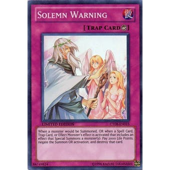 Yu-Gi-Oh Limited Edition Tin Single Solemn Warning Super Rare CT08 - NEAR MINT (NM)