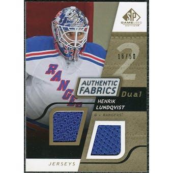 2008/09 Upper Deck SP Game Used Dual Authentic Fabrics Gold #AFHL Henrik Lundqvist /50