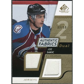 2008/09 Upper Deck SP Game Used Dual Authentic Fabrics Gold #AFSK Joe Sakic /50