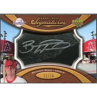 2007 Upper Deck Sweet Spot Signatures Black Bat Barrel Silver Ink #BW Brandon Wood /15