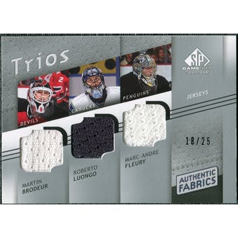 2008/09 Upper Deck SP Game Used Authentic Fabrics Trios #BLF Brodeur Luongo Fleury /25