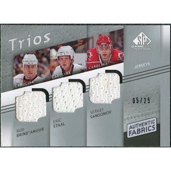 2008/09 Upper Deck SP Game Used Authentic Fabrics Trios #BSS Rod Brind'Amour Eric Staal Sergei Samsonov /25