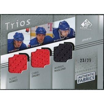 2008/09 Upper Deck SP Game Used Authentic Fabrics Trios #GND Scott Gomez Chris Drury Markus Naslund /25