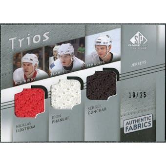 2008/09 Upper Deck SP Game Used Authentic Fabrics Trios #LPG Nicklas Lidstrom Dion Phaneuf Sergei Gonchar /25