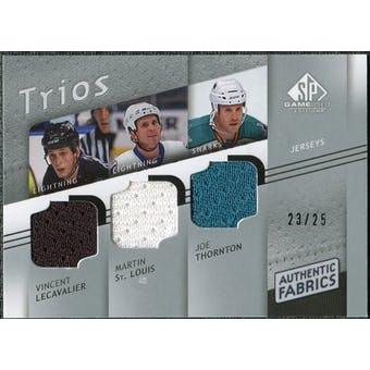 2008/09 Upper Deck SP Game Used Authentic Fabrics Trios #LTS Lecavalier St. Louis Thornton /25
