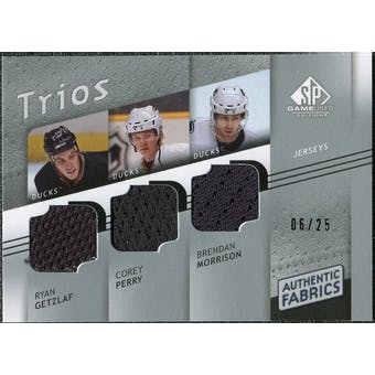 2008/09 Upper Deck SP Game Used Authentic Fabrics Trios #MPG Ryan Getzlaf Corey Perry Brendan Morrison /25