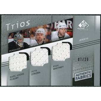 2008/09 Upper Deck SP Game Used Authentic Fabrics Trios #SFW Marc-Andre Fleury Petr Sykora Ryan Whitney /25