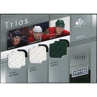 2008/09 Upper Deck SP Game Used Authentic Fabrics Trios #SKK Teemu Selanne Saku Koivu Mikko Koivu 11/25