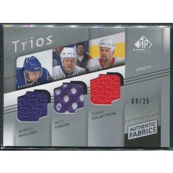 2008/09 Upper Deck SP Game Used Authentic Fabrics Trios #SNH Markus Naslund Mats Sundin Tomas Holmstrom 9/25