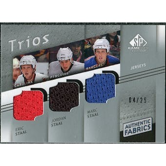 2008/09 Upper Deck SP Game Used Authentic Fabrics Trios #SSS Eric Staal Jordan Staal Marc Staal /25