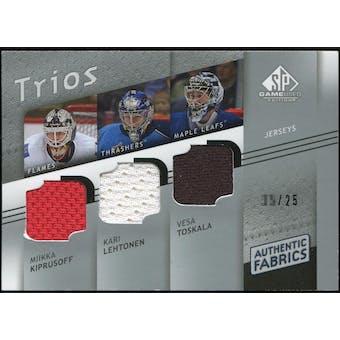 2008/09 Upper Deck SP Game Used Authentic Fabrics Trios #TKL Miikka Kiprusoff Kari Lehtonen Vesa Toskala /25