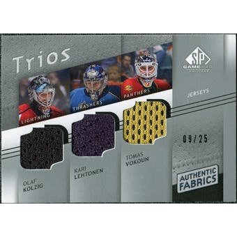 2008/09 Upper Deck SP Game Used Authentic Fabrics Trios #VKL Olaf Kolzig Kari Lehtonen Tomas Vokoun /25