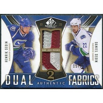2009/10 Upper Deck SP Game Used Authentic Fabrics Dual Patches #AF2DH Henrik Sedin Daniel Sedin /25