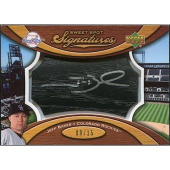 2007 Upper Deck Sweet Spot Signatures Black Bat Barrel Silver Ink #JB Jeff Baker /15