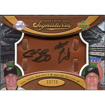 2007 Upper Deck Sweet Spot Dual Signatures Glove Leather Black Ink #TL Curtis Thigpen Adam Lind /15