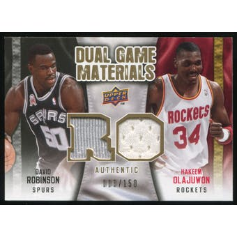 2009/10 Upper Deck Game Materials Dual Gold #DGOR David Robinson Hakeem Olajuwon /150