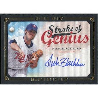 2008 Upper Deck UD Masterpieces Stroke of Genius Signatures #NB Nick Blackburn Autograph