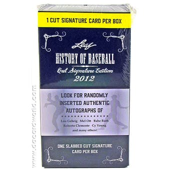 2012 Leaf History of Baseball Hobby Box (1 Cut Signature Per Box!)