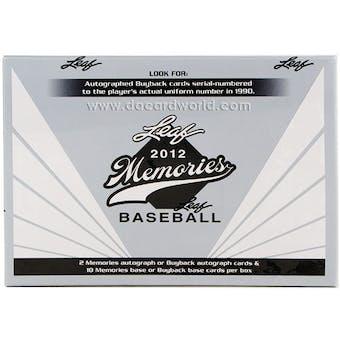 2012 Leaf Memories Baseball Hobby Box