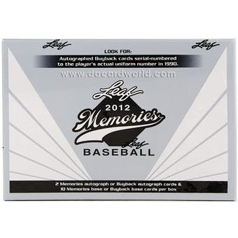 2012 Leaf Memories Baseball Hobby Box