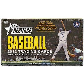 2012 Topps Heritage Baseball Hobby Box (Reed Buy)