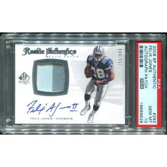 2008 SP Authentic #292 Felix Jones III Rookie Patch Autograph 755/999 PSA 10 Gem Mint