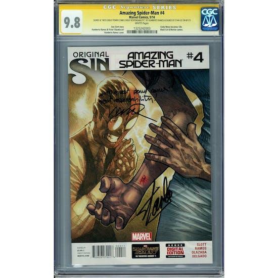 Amazing Spider-Man #4 CGC 9.8 Stan Lee Humberto Ramos Signature Series w/ Inscription (W) *1325242003*