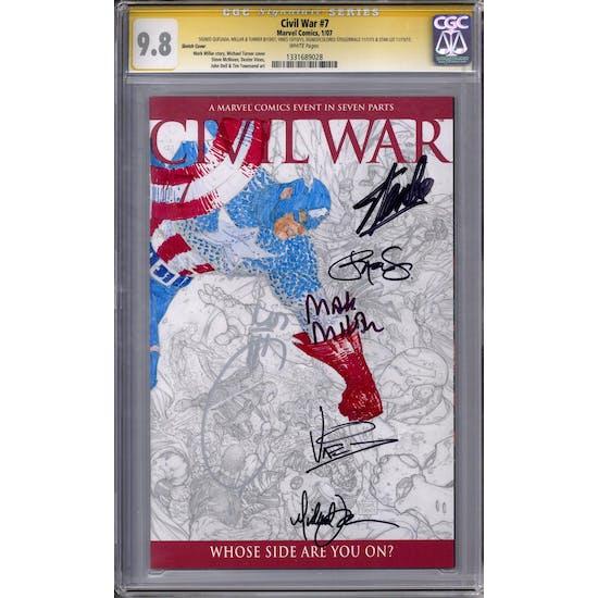 Civil War #7 Quesada Millar Turner Vines Stan Lee & Steigerwald (Colored) Signature Series CGC 9.8 (W)