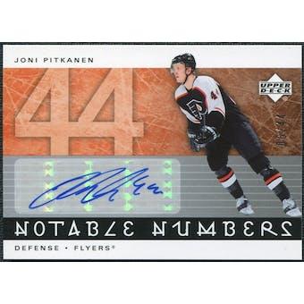 2005/06 Upper Deck Notable Numbers #NJP Joni Pitkanen Autograph /44