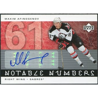 2005/06 Upper Deck Notable Numbers #NMA Maxim Afinogenov Autograph /61