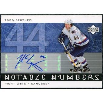 2005/06 Upper Deck Notable Numbers #NTB Todd Bertuzzi Autograph /44