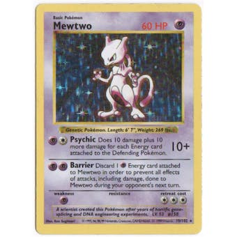 Pokemon Base Set 1 Single Mewtwo 10/102 - Shadowless SLIGHT PLAY (SP)