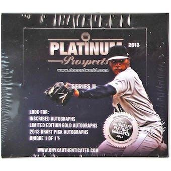2013 Onyx Platinum Prospects Series 2 Baseball Hobby Box
