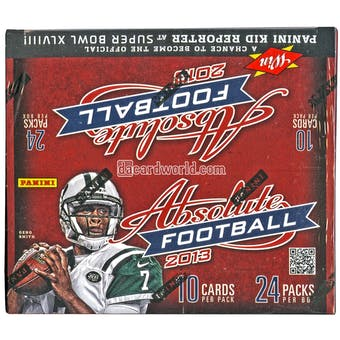 2013 Panini Absolute Football 24-Pack Box (Three Memorabilia Cards Per Box!)